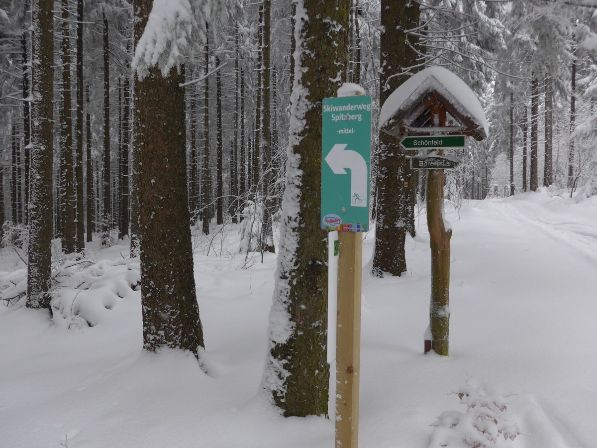 Ausschilderung Skiwanderweg Spitzberg bei Bärenfels