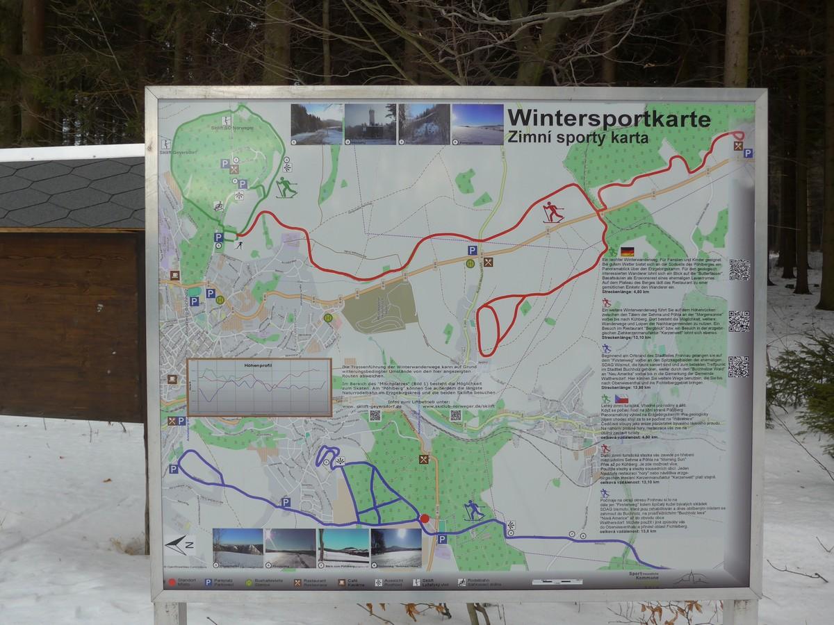 Karte mit Loipen und Winterwanderwegen rund um Annaberg-Buchholz