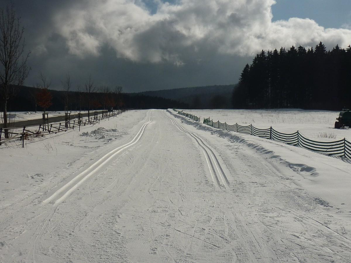 Loipeneinstieg Eibenstock am Ortsausgang Richtung Wildenthal