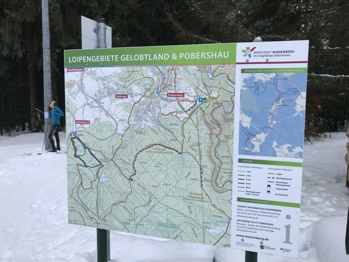 Loipenkarte am Einstieg der Loipen bei Marienberg-Gelobtland
