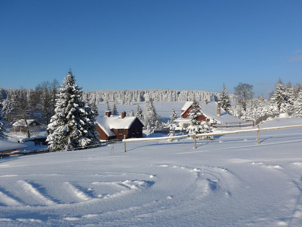 Winterlandschaft bei Prebuz nahe Pension Kovářská Bouda