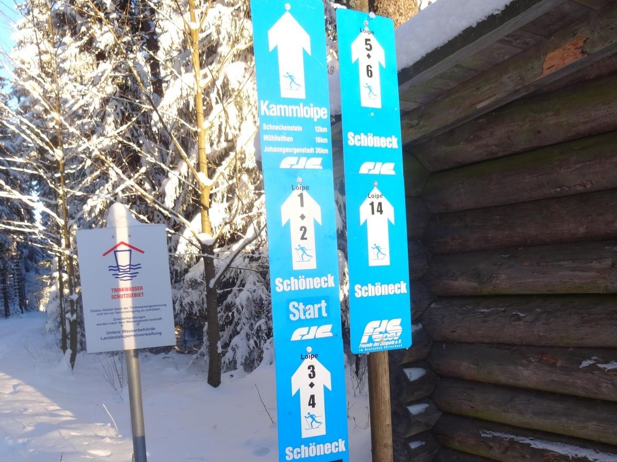 Loipenausschilderung bei Schöneck im Vogtland