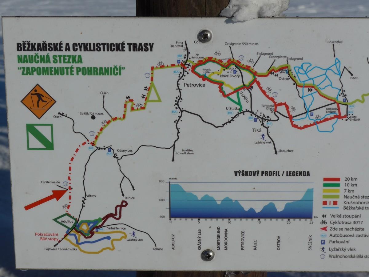 Loipenkarte Loipengebiet Petrovice - Tisa