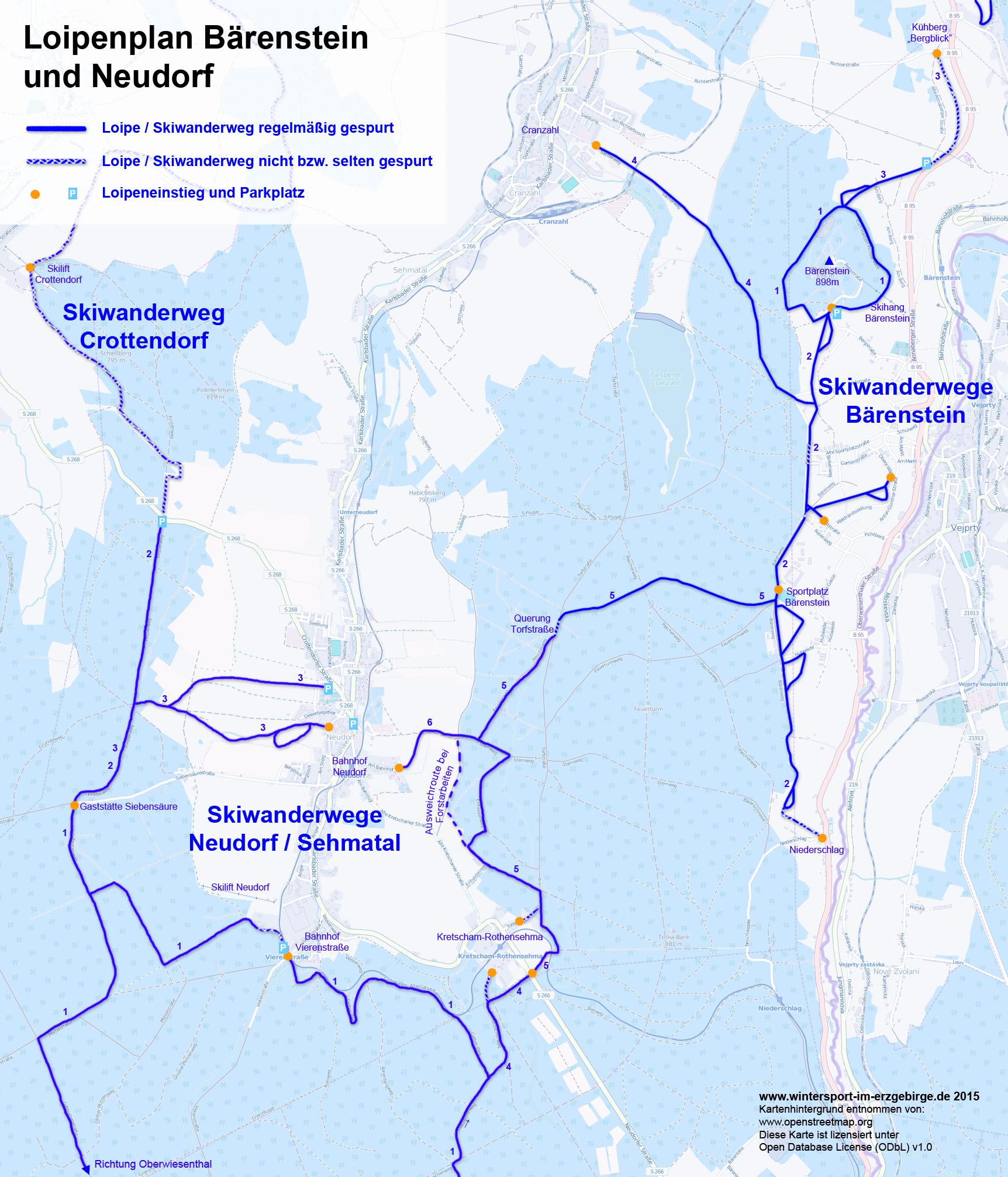 Loipenplan Bärenstein und Neudorf