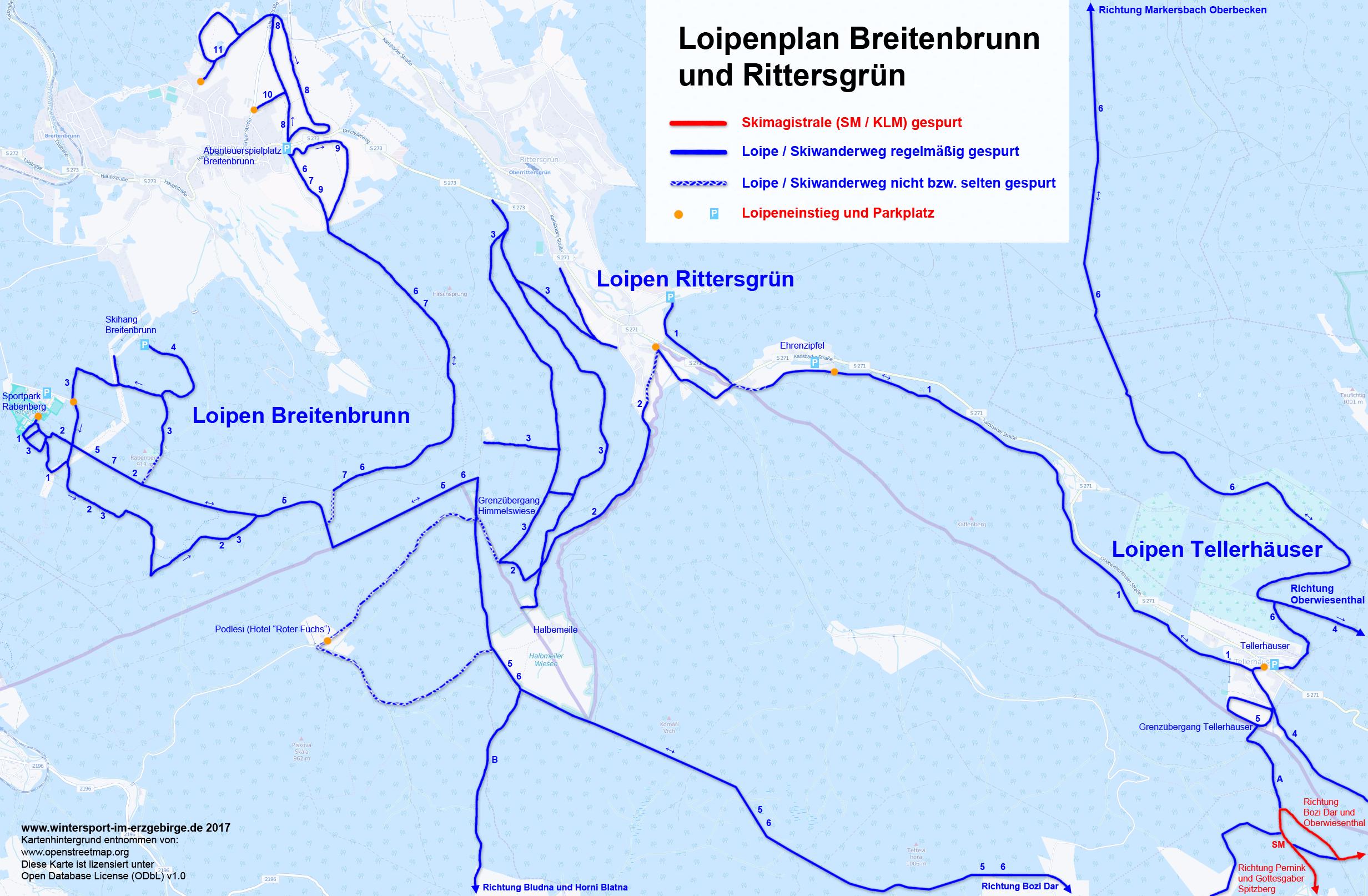 Loipenplan Breitenbrunn, Rittersgrün und Tellerhäuser