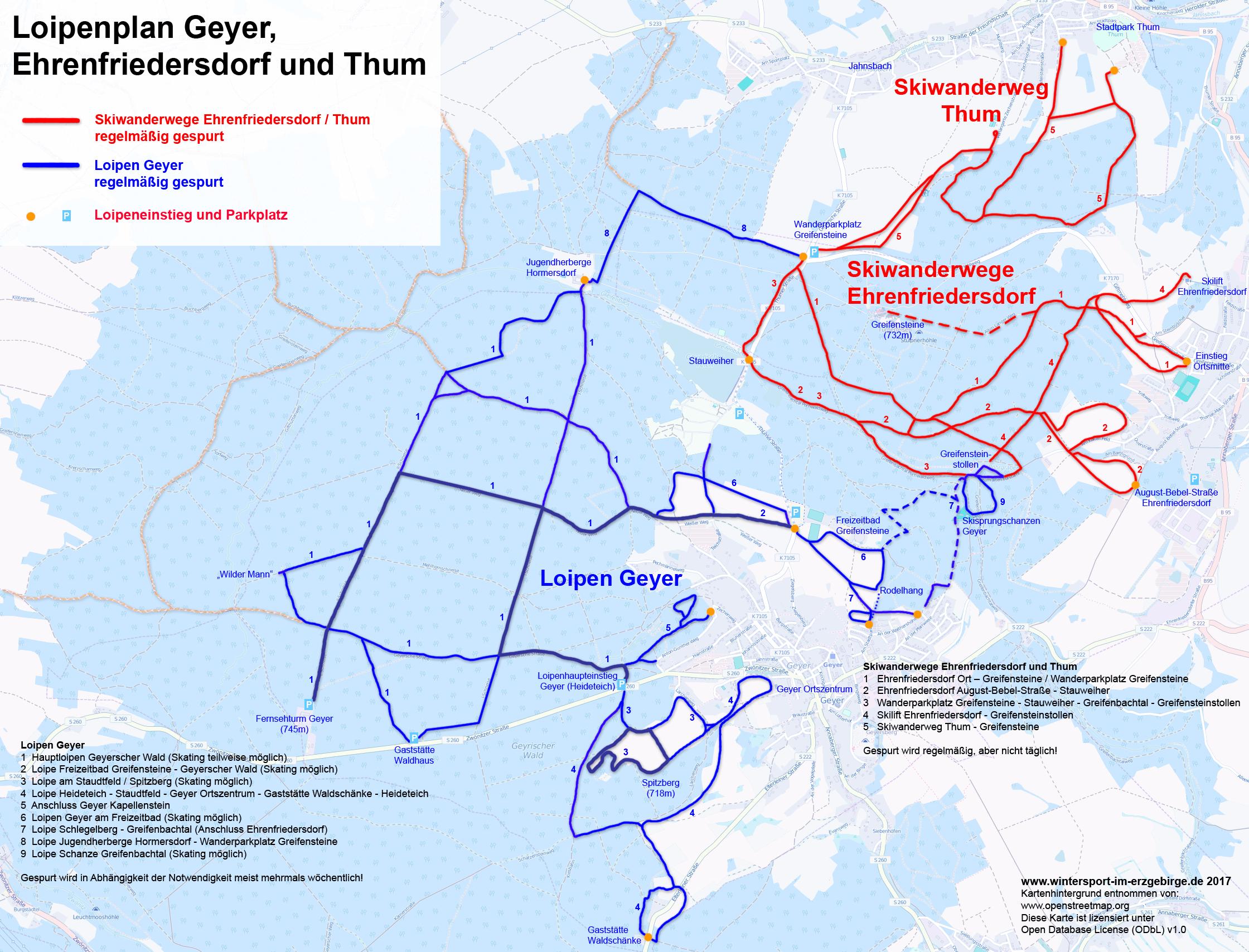 Loipenplan Geyer und Ehrenfriedersdorf