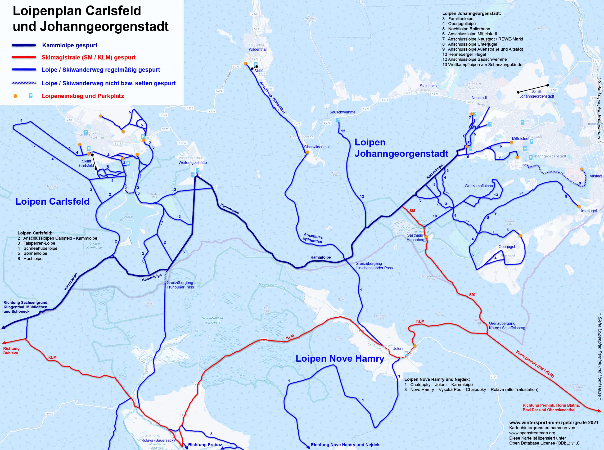 Loipenplan Johanngeorgenstadt und Carlsfeld (Kammloipe)