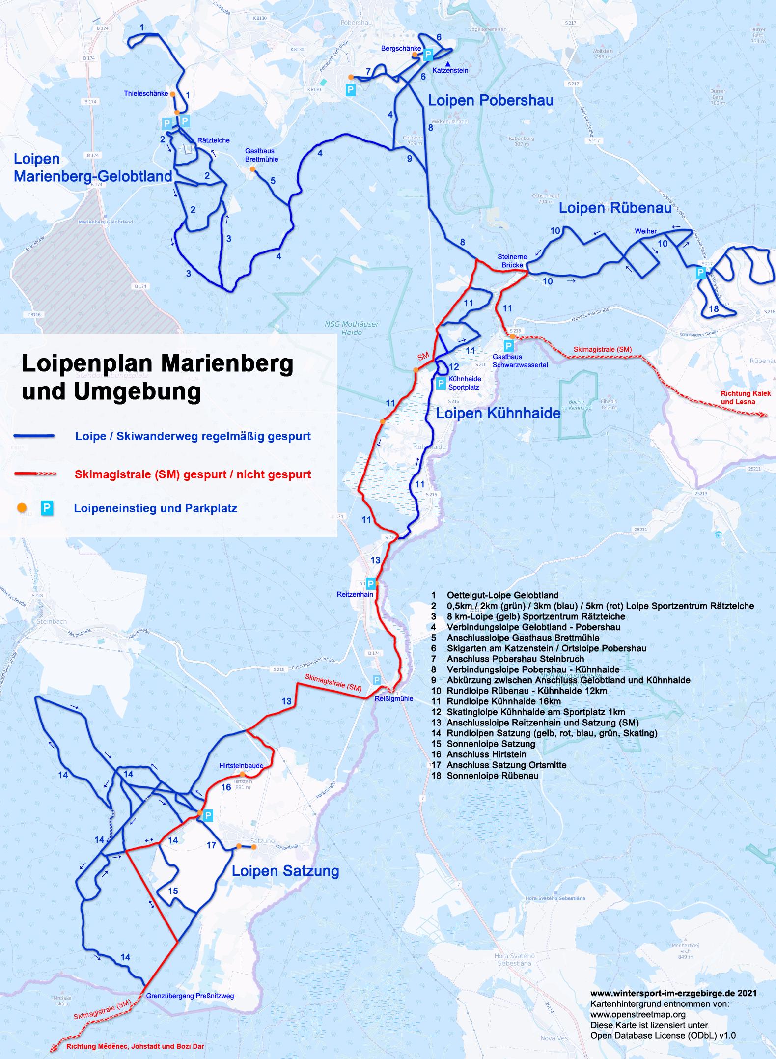 Loipenplan Marienberg mit Gelobtland, Pobershau, Rübenau, Kühnhaide und Satzung