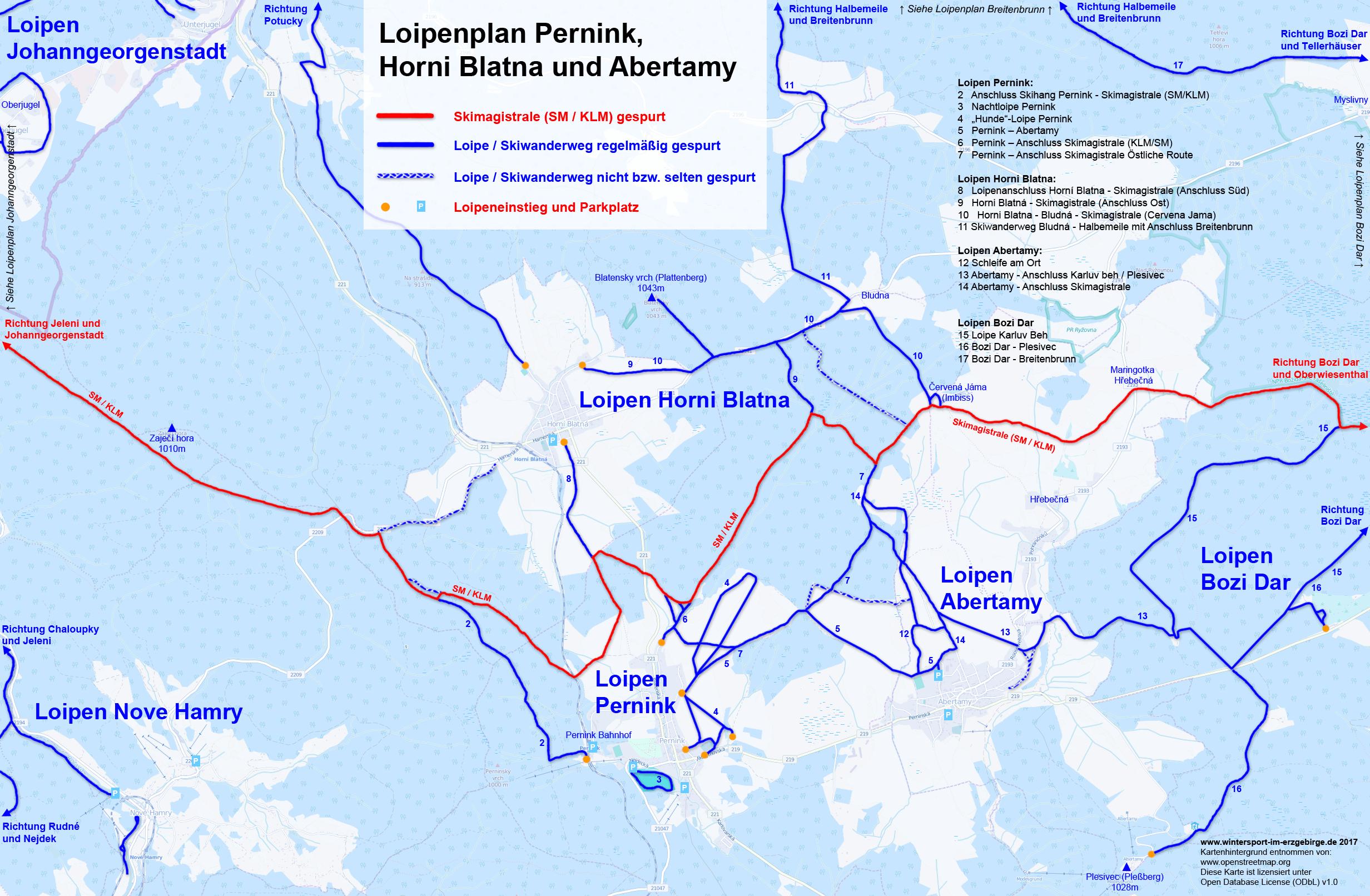 Loipenplan Pernink, Abertamy und Horni Blatna