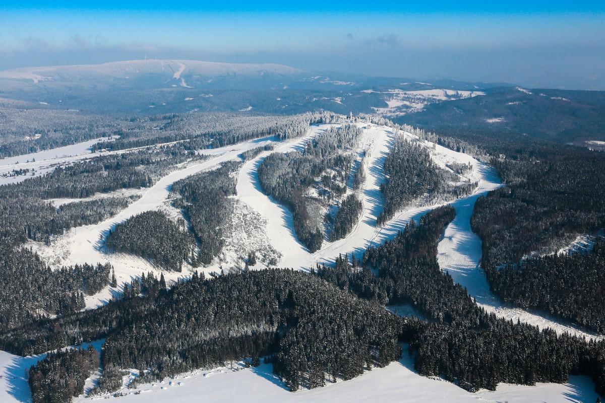 Luftansicht Skigebiet Plesivec