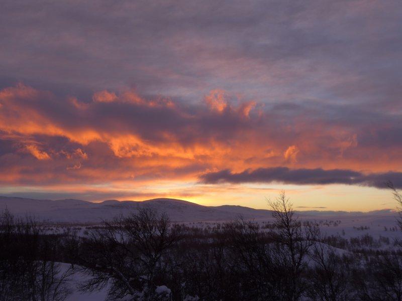 Sonnenuntergang an der Hütte Eldåbu